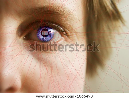 Red laser lines scanning the face and retina of a woman.  The iris is overlayed with a bar code.  Security, big brother, privacy concept image. - stock photo
