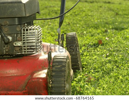 Red lawn mower in action - stock photo