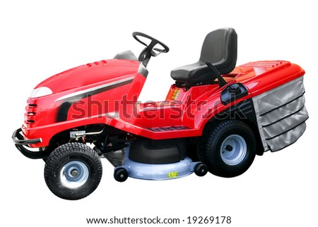 red lawn mower isolated - stock photo
