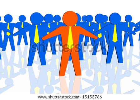 Red leader and business team isolated in white background - stock photo