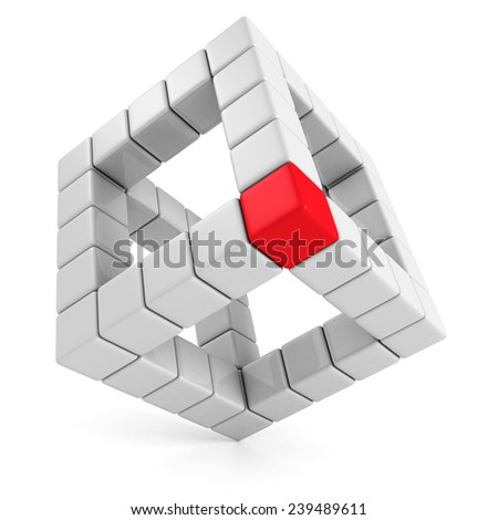 red leader cube of abstract cube structure. leadership concept 3d render illustration - stock photo