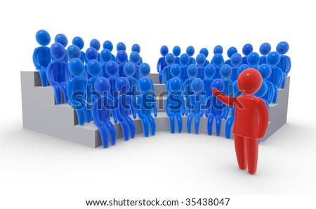 Red leader standing in front of audience - stock photo