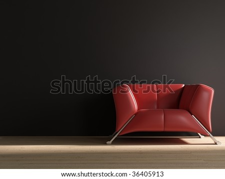 red leather armchair to  face a blank wall