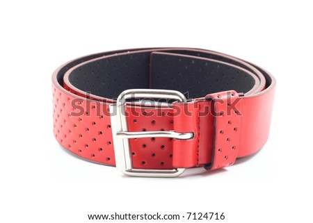 red leather belt isolated on white background