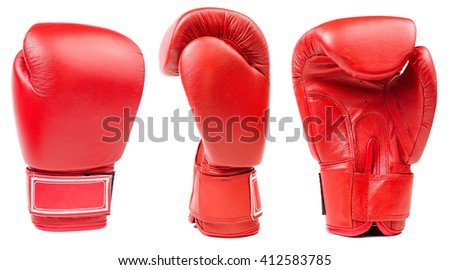 Red leather boxing glove isolated on white background - stock photo