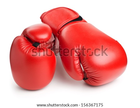 red leather boxing gloves isolated on white background - stock photo
