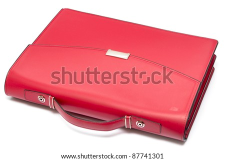 red leather briefcase isolated on white - stock photo