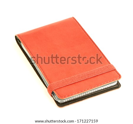 Red leather business cards holder isolated on white background - stock photo