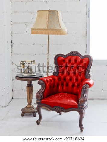 red leather chair - stock photo