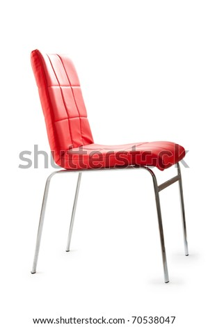 Red leather chair isolated on the white background
