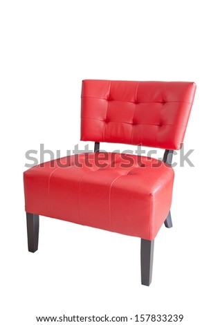 red leather chair isolated on white background for multipurpose - stock photo