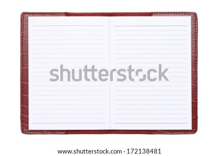 red leather cover notebook isolated on white background