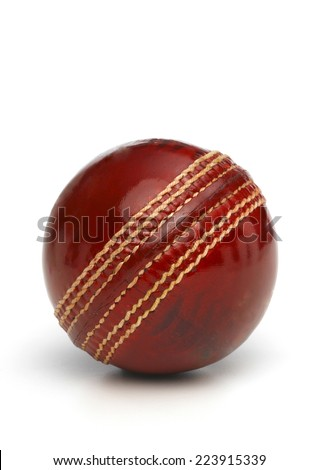 Red Leather Cricket Ball - stock photo