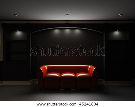 Red leather divan and bookcase in dark room - stock photo