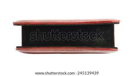 Red leather envelope and paper holder isolated over the white background - stock photo