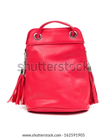 Red leather fashion ladies handbag. Isolate on white.