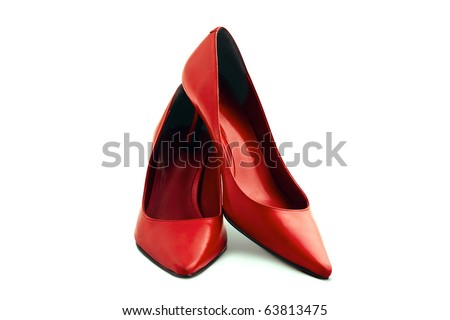 Red leather female shoes on a white background - stock photo