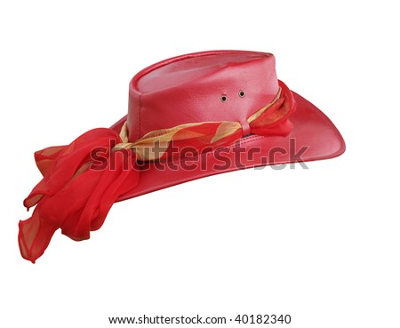 Red Leather Hat isolated with clipping path