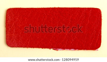 Red leather label - stock photo