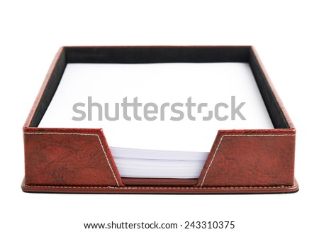 Red leather office paper holder box isolated over the white background - stock photo