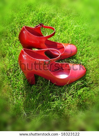 Red leather patent shoes