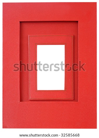 Red leather picture frame - stock photo