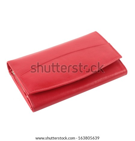Red leather purse isolated on white background - stock photo
