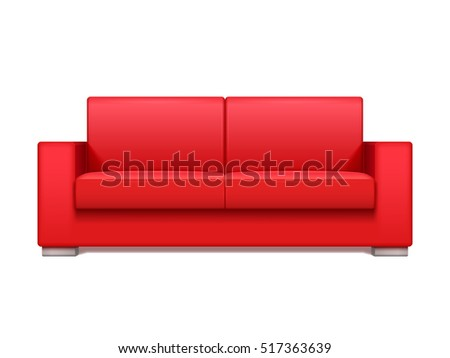 Red leather realistic sofa for modern living room interior illustration. Sofa for office interior, design realistic sofa isolated on white background