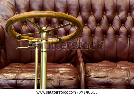 Red Leather Seat in a Classic Car - stock photo
