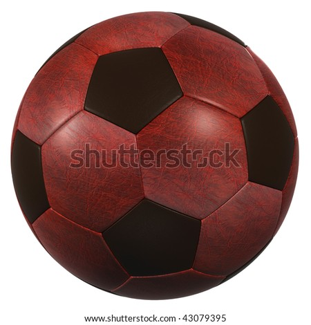 red leather soccer ball high resolution isolated on a white background