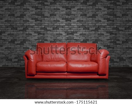red leather sofa - stock photo