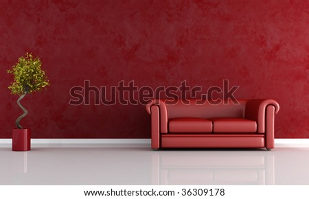 red leather sofa against stucco wall - rendering - stock photo