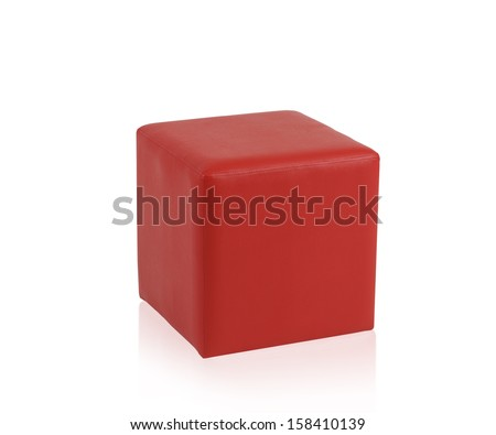 Red leather stool isolated on white background - stock photo