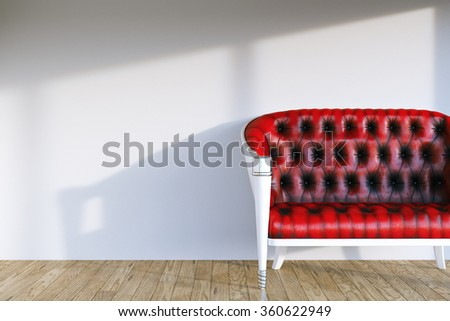 Red leather vintage sofa in modern room interior with hardwood and white wall. 3d render - stock photo
