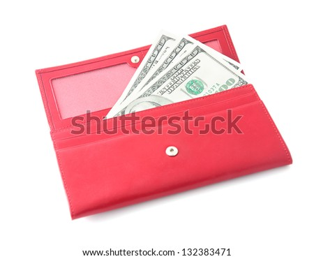 red leather wallet closeup with money isolated on white background - stock photo