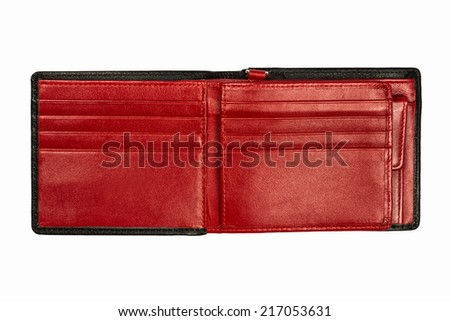red leather wallet isolated on white background - stock photo