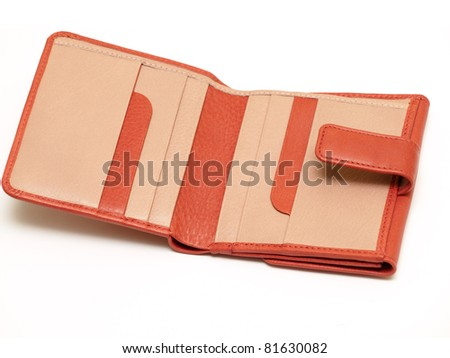 Red leather wallet open - stock photo