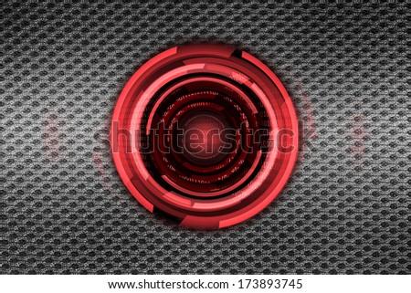 red lens on steel mesh - stock photo