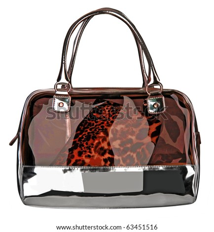 red leopard bag - stock photo