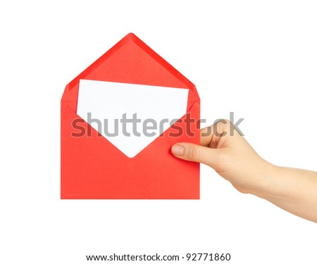 Red letter in hand isolated on white background - stock photo