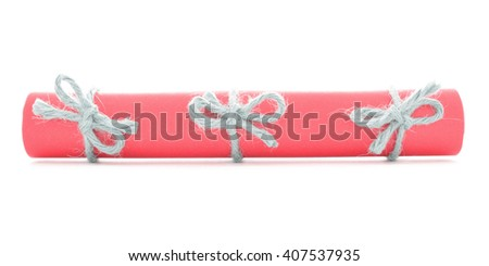 Red letter scroll tied with string, three natural nodes isolated - stock photo
