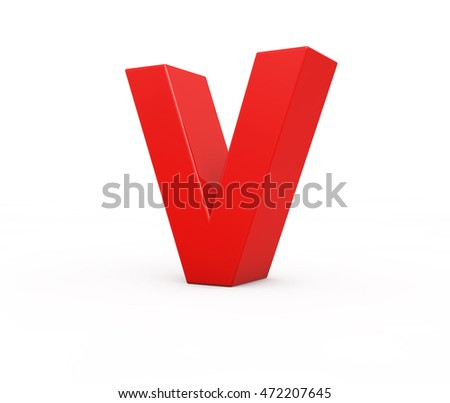red letter V, 3d illustration.