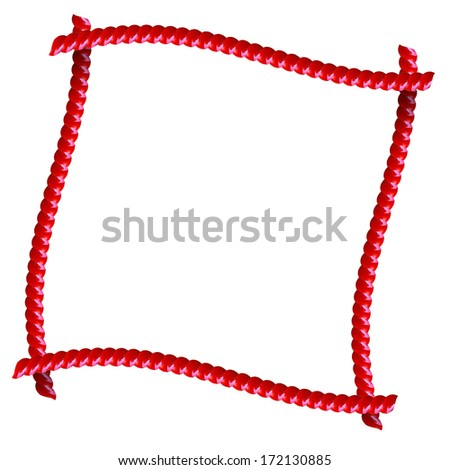 Red Licorice frame isolated on white - stock photo