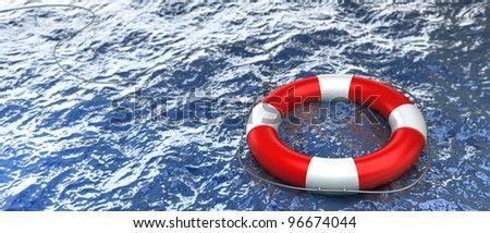 Red life buoy in the water High resolution - stock photo