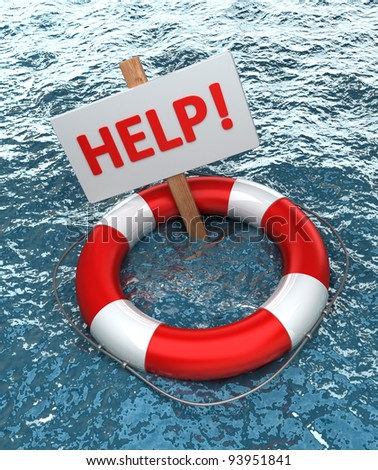 Red life buoy with a sign HELP in the water High resolution - stock photo