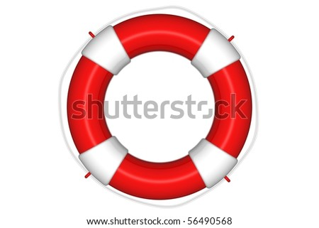 Red life buoy with rope isolated - stock photo