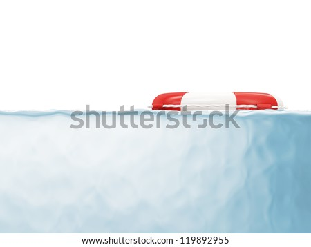 Red Lifebelt in Water isolated on white background with place for your text - stock photo