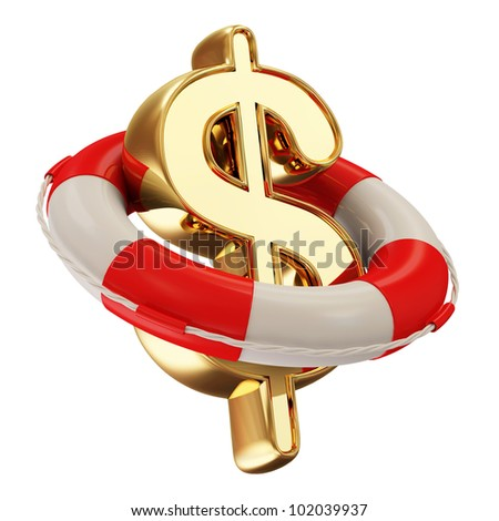 Red Lifebelt with Dollar Sign isolated on white background