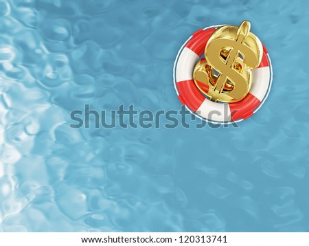 Red Lifebelt with Dollar Sign on the Water - stock photo