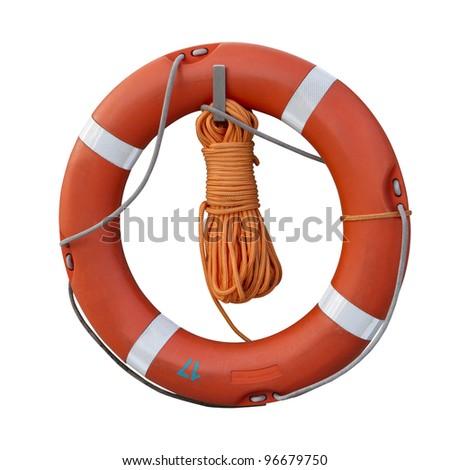 red lifebuoy - stock photo